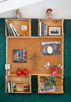 Aproveite os caixotes de frutas e faça uma estante sustentável