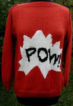 Handmade Sweater Red Retro Cartoon POW by CavalierDreams on Etsy