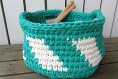 Mother's day gift!! Round Crochet Basket with Handles made with fabric yarn; Green and White by White Sheep