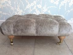 Quality Deep Button Footstool In Laura Ashley Caitlyn Silver /Grey Velvet Fabric | eBay