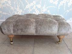 Quality Deep Button Footstool In Laura Ashley Caitlyn Silver /Grey Velvet Fabric | eBay