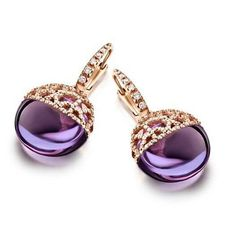 NANIS-Africa Collection Drop Earrings with Diamond.42ct./18K Yellow Gold and Amethyst. $ 4,270.00