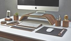 Desk Collection in Walnut with Bent Plywood Monitor Stand  http://homeli.co.uk/the-desk-collection-by-grovemade-ergonomics-just-got-sexy/