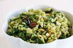 Spinach and Orzo Salad ~ Classic spinach and orzo salad with orzo pasta, fresh spinach, feta cheese, pine nuts, Greek olives, and red onion. ~ SimplyRecipes.com