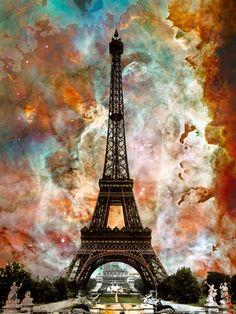 Torre Eiffel París Francia viajes paisaje cielo nebulosa Collage contemporáneo moderno fresco regalo único de arte emblemático gran lámina
