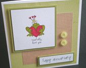 funny anniversary card, handmade, blank, red, green, modern, card for him, card for her