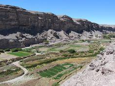 Lasana, the cultivated valley by the side of the pucara, the fortified town.  Lasana, el valle cultivado desde el pucará, el pueblo fortificado.  Región de Antofagasta, Chile.