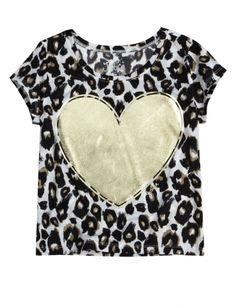 Cheetah Heart Shrunken Mesh Tee