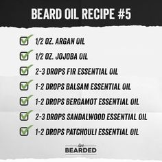 Beard Oil Recipe List You Can Make At Home and Counting) - Beard Tips Homemade Beard Oil, Diy Beard Oil, Beard Oil And Balm, Best Beard Oil, Beard Balm, Essential Oil For Men, Essential Oil Blends, Beard Butter, Essential Oils