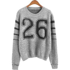 Gray Letter 26 Striped Sleeve Crop Jumper 15JP00142-1 ($15) ❤ liked on Polyvore featuring tops, sweaters, grey, letter sweater, stripe sleeve sweater, stripe sweater, striped sleeve sweater and print sweater