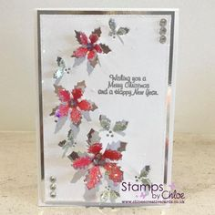 Dies by Chloe from Craftasmic. Dies by Chloe is a lovely die cutting range designed by Chloe Endean and made in the UK. Dies by Chloe. Handmade Christmas, Christmas Crafts, Christmas Tables, Christmas Ideas, Crafters Companion Christmas Cards, Holly Flower, Chloes Creative Cards, Stamps By Chloe, Christmas Wishes