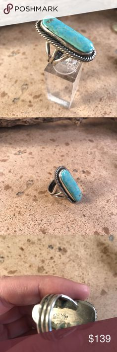 Rick Martinez Sterling Silver Turquoise ring 6.5 This is a wonderful handmade ring made by the Navajo artist Rick Martinez. Sterling Silver & Pilot Mountain Turquoise which measures 1 1/2 inches long by 3/4 of an inch wide. This piece is signed and stamped sterling.    Thank you for checking out our store Jewelry Rings