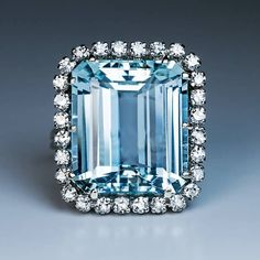 Vintage Ct 12,55 Aquamarine Diamond Cluster Ring