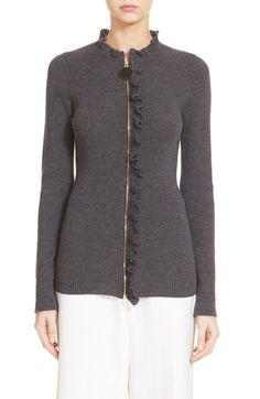Marni Ruffle Trim Zip-Up Wool Sweater | Nordstrom