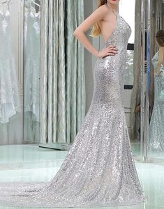 166 USD.Silver Sequin Prom Dresses Long Mermaid Sleeveless Evening Dresses Backless Formal Gowns Sexy Halter V Neck Party Pageant Dresses for Women