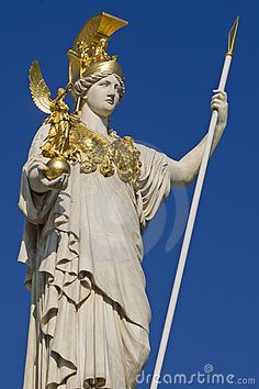 Pallas Athena in front of parliament building, Vienna. Athena - virgin goddess of reason, intelligent activity, arts and literature; daughter of Zeus