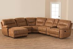 Wholesale Interiors Mistral Suede Sectional Sofa 99170J109LIGHTBROWNLFC Light Brown Palomino   Appliances Connection Sectional Sofa With Recliner, Reclining Sectional, Armless Chair, Suede Couch, Contemporary Recliners, Lounge Suites, Baxton Studio, Living Room Sets, Palomino