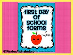 These are First Day of School Forms (English) *Find it in Spanish here. Includes: -class roster list for student name, phone car rider-pick u. 1st Day Of School, Beginning Of The School Year, School Fun, School Ideas, School Stuff, School Starts, Teachers Week, Teachers Aide, School Classroom