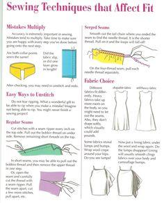 Sewing tips - ripping seams, fabric choices