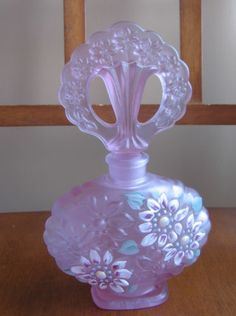 Fenton Glass Hand Painted Satin Lilac Perfume Bottle Embossed Signed | eBay