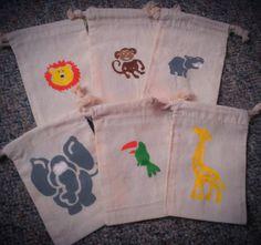 12 Zoo Animal theme favor / treat bags - Monkey, Toucan, Lion, Elephant, Giraffe, Hippo on Etsy, $19.99
