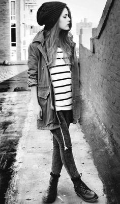long jacket + skinnies + beanie + doc martens