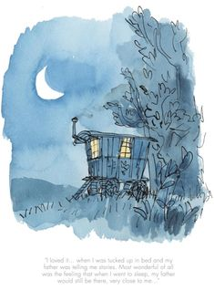 When I was tucked up in Bed - Official Collector's Print by Quentin Blake from Roald Dahl's Danny Champion of the World. Watercolor Illustration Children, Children's Book Illustration, Book Illustrations, Quentin Blake Illustrations, Roald Dahl Books, Drawn Art, Art Sketchbook, Book Art, Art Prints