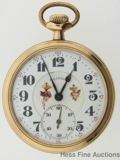 16s Antique Illinois 19J Custom Hand Painted Sacred Heart Dial Pocket Watch Runs   eBay