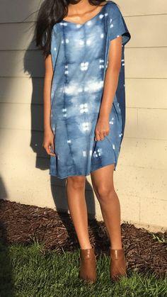 A personal favorite from my Etsy shop https://www.etsy.com/listing/500742594/shibori-shift-dress-indigo-dyed-tunic