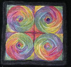 Many Worlds hooked rug by Teresa Nieberding