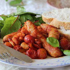 Sausage & Bean Stew by Nessa Robins. | A nutritious and tasty one-pot recipe using cupboard ingredients.