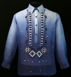 Monochromatic Navy Blue Barong Tagalog - Barongs R us Barong Tagalog Wedding, Barong Wedding, Filipiniana Dress, Filipino Fashion, Philippines Fashion, Blazer Outfits Men, Line Shopping, Mandarin Collar, Fashion Wear