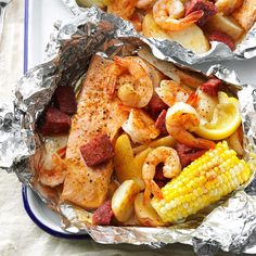Cajun Boil on the Grill Recipe -I came up with these everything-in-one seafood packets for a family reunion, since the recipe can be increased to feed a bunch. The foil steams up inside, so open carefully. —Allison Brooks, Fort Collins, Colorado