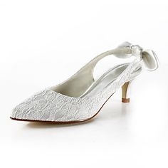 Lace Kitten Heel Pointy Toe/ Closed Toe Wedding Shoes