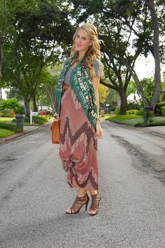 knotted maxi skirt and Otrera scarf