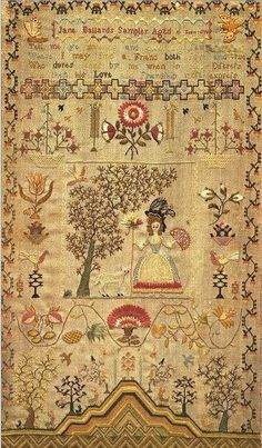 Tell Me Ye Knowing Art Print by Jane Ballard Embroidery Sampler, Vintage Embroidery, Embroidery Art, Cross Stitch Embroidery, Cross Stitch Patterns, Cross Stitch Samplers, Cross Stitching, Art Textile, Antique Quilts