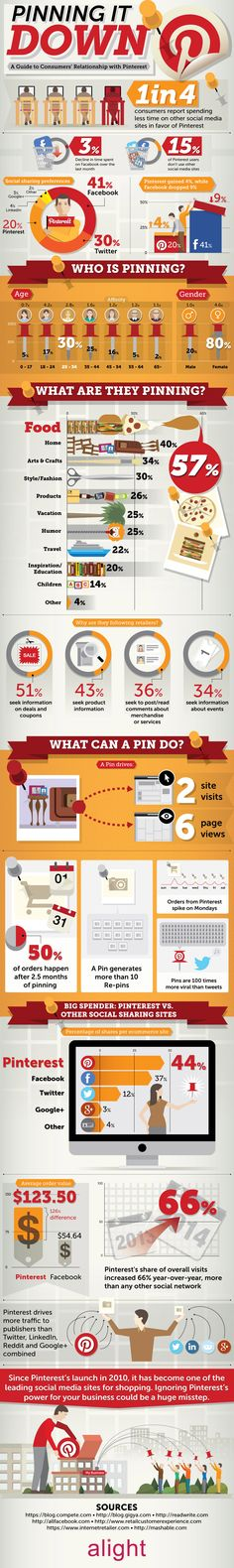 Pinning it Down: A Guide to Consumers' Relationship with Pinterest #Pinterest #SocialMedia #Business #infographic