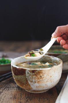Shiitake Miso Soup with Silken Tofu - Snixy Kitchen - Snixy Kitchen @snixykitchen