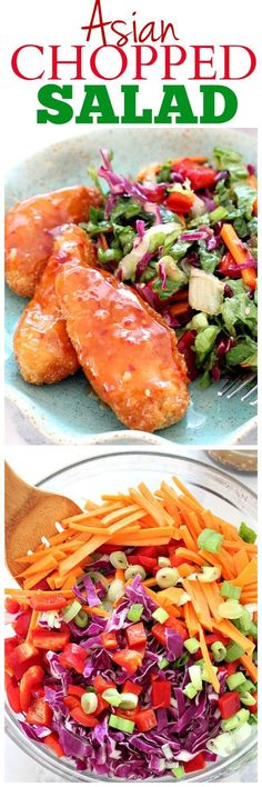 Asian Chopped Salad with Garlic Sesame Vinaigrette Recipe served with Sweet Chili Pollock Tenders - quick and easy weeknight dinner idea with a ton of flavor!