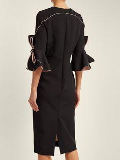 Lavette bow-trimmed crepe dress   Roksanda   MATCHESFASHION.COM US Baptism Outfit, Roksanda, Crepe Dress, Pink Satin, Cold Shoulder Dress, Women Wear, Jumpsuit, Bows, Slim