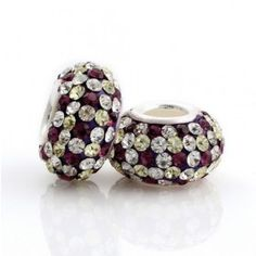Silver Red White Yellow Pattern Crystal Bead