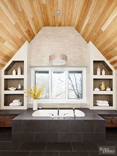 Create visual order in your modern bath by incorporating symmetry.