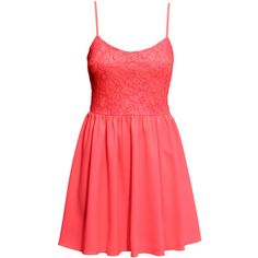 H&M Dress with a lace bodice (185 UYU) ❤ liked on Polyvore featuring dresses, vestidos, robes, neon coral, lace dress, red lace dresses, red mini dress, neon cocktail dresses and lace cocktail dresses