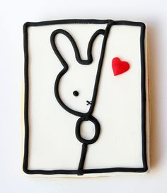 Miffy, don't be a shy cookie. Fancy Cookies, Iced Cookies, Cute Cookies, Easter Cookies, Royal Icing Cookies, Cupcake Cookies, Sugar Cookies, Valentines Sweets, Valentines Day Cookies