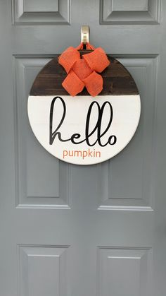 Halloween Door Hangers, Fall Door Hangers, Fall Decor Signs, Fall Home Decor, Wooden Pumpkins, Fall Pumpkins, Front Door Christmas Decorations, Halloween Decorations, Pumpkin Door Hanger