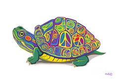 A colorful whimsical painted peace sign turtle. Land Turtles, Sea Turtles, Turtle Meaning, Sea Drawing, Mandala Drawing, Turtle Sketch, Tortoise Tattoo, Turtle Rock, Turtle Painting