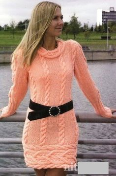 Robe pull femme orange