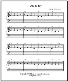 Ode to Joy with chord symbols, at Music-for-Music-Teachers.com