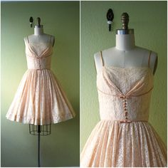 1950's Bombshell Lace Dress Small//Peach Lace by CapsuleVintage