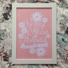Personalised birth announcement paper cut ready to be framed xx
